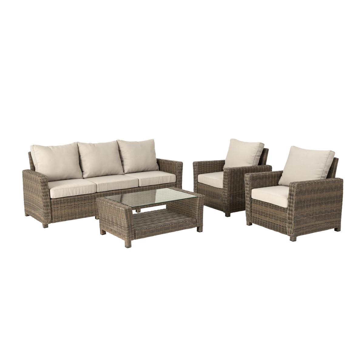Набор садовой мебели Naterial полиротанг светло-коричневый стол диван и 2 кресла