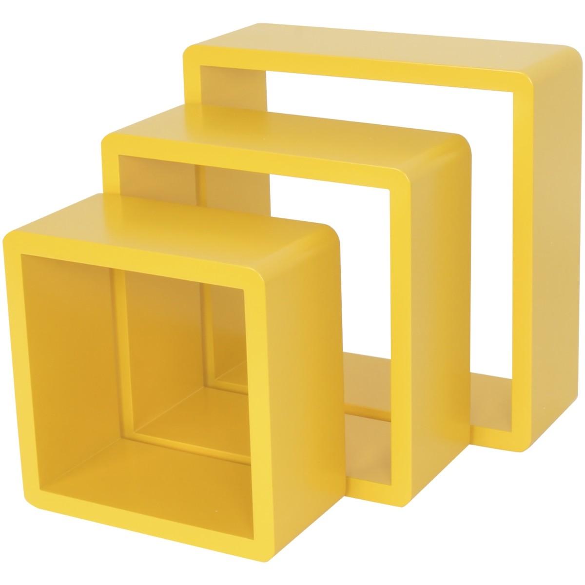 Полка кубическая 20х10 см/24х10 см/28х10 см цвет жёлтый 3 шт.