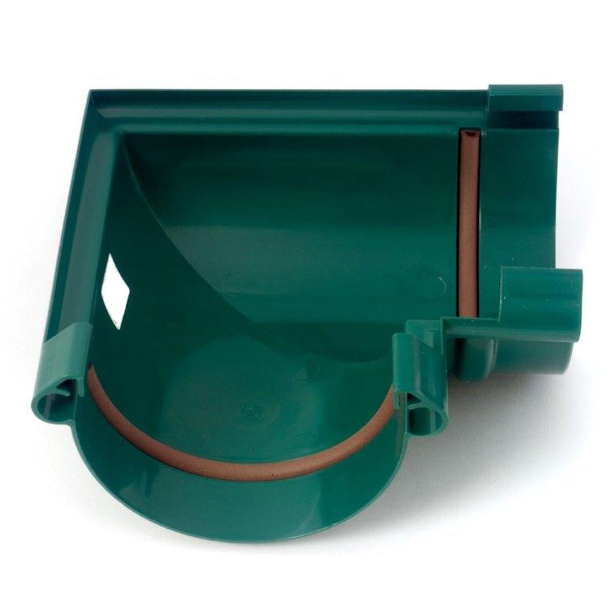 Угол желоба с уплотнением 90/130 мм цвет зеленый