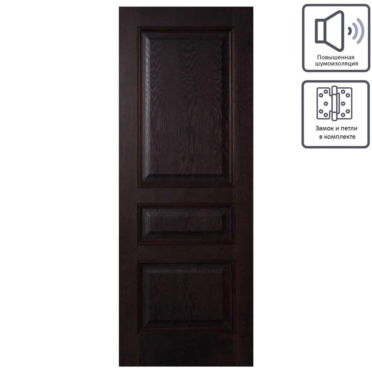 Дверь Межкомнатная Глухая Шпон Вельми 60x200 Цвет Венге