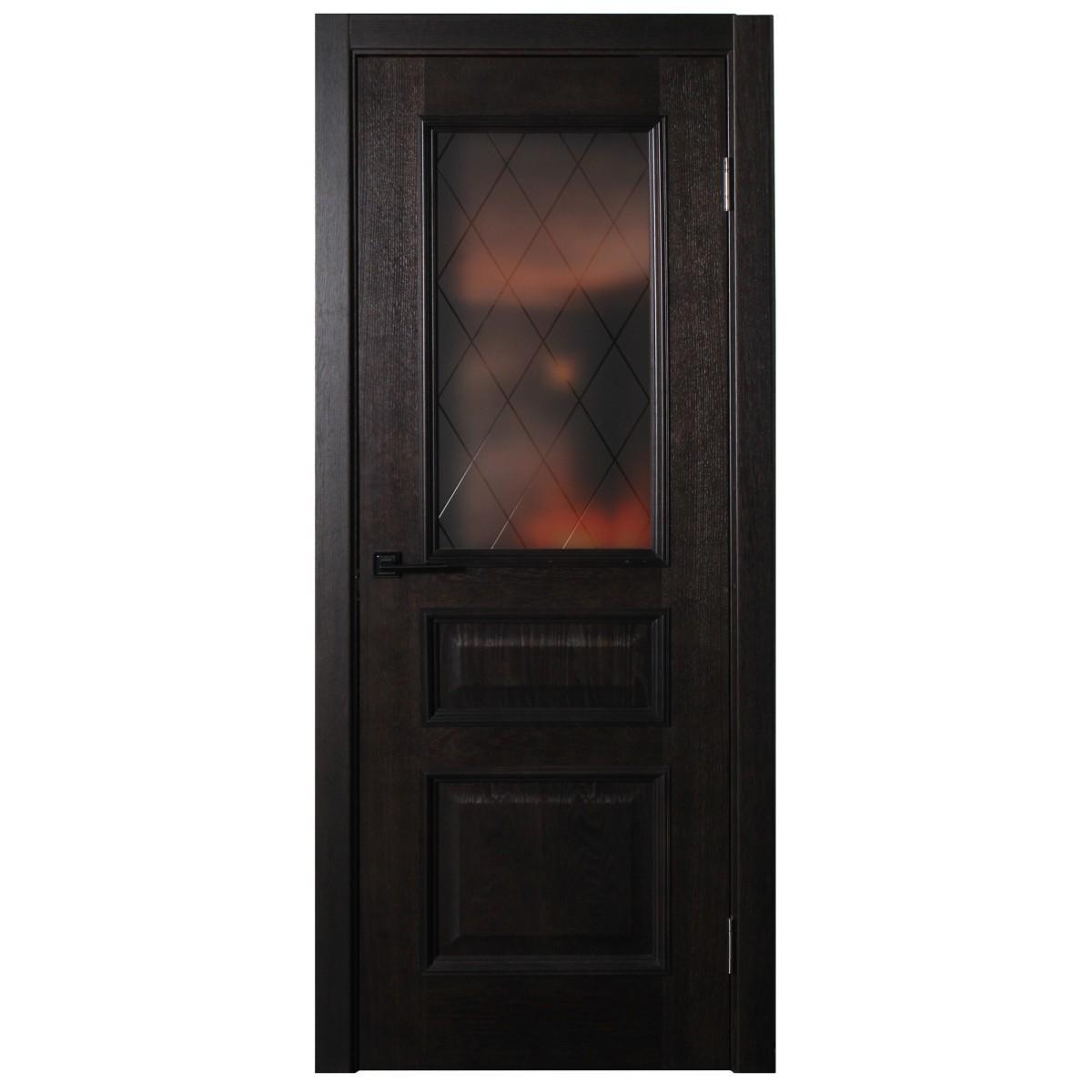 Дверь межкомнатная остеклённая шпон Вельми 80x200 см цвет венге