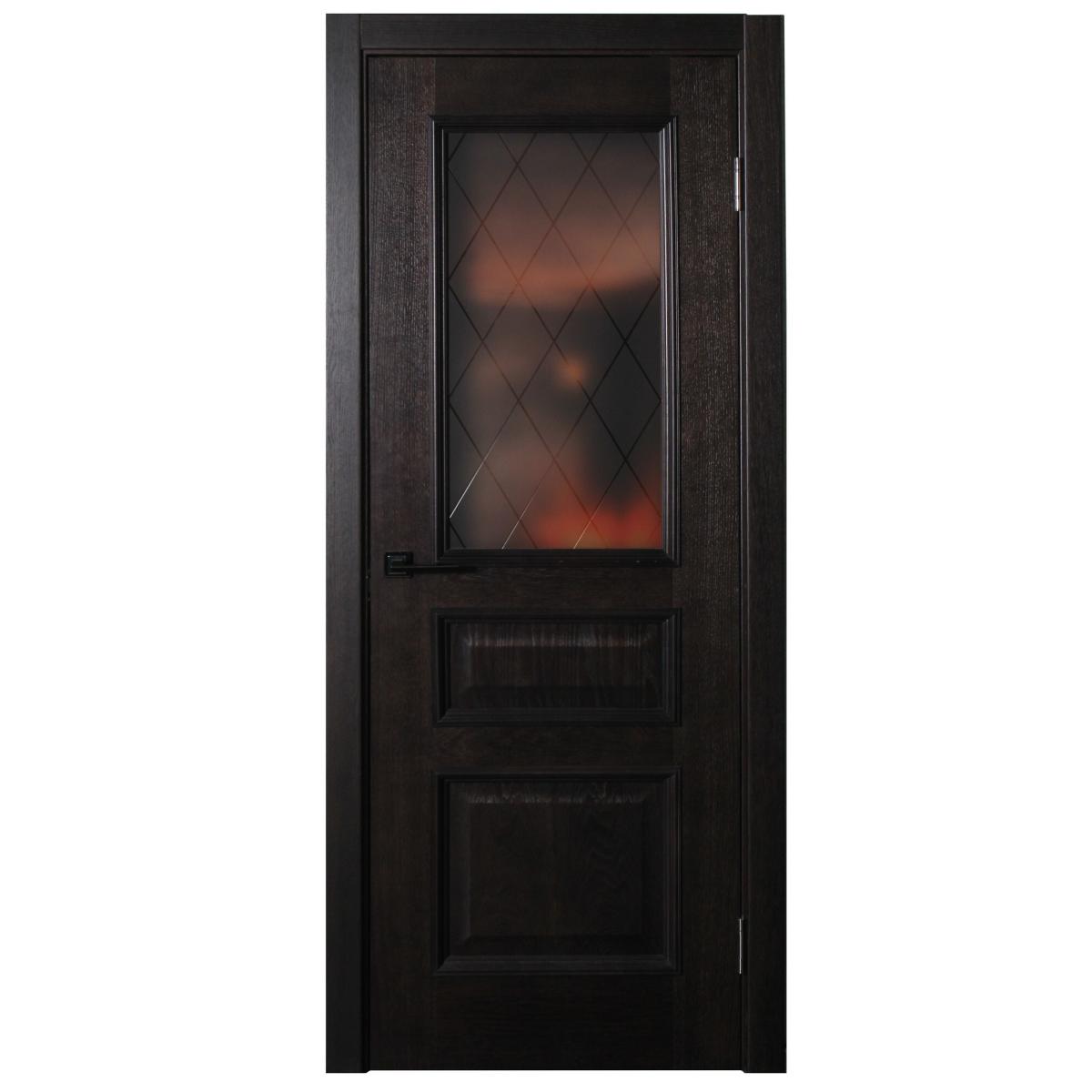 Дверь Межкомнатная Остеклённая Шпон Вельми 90x200 Цвет Венге
