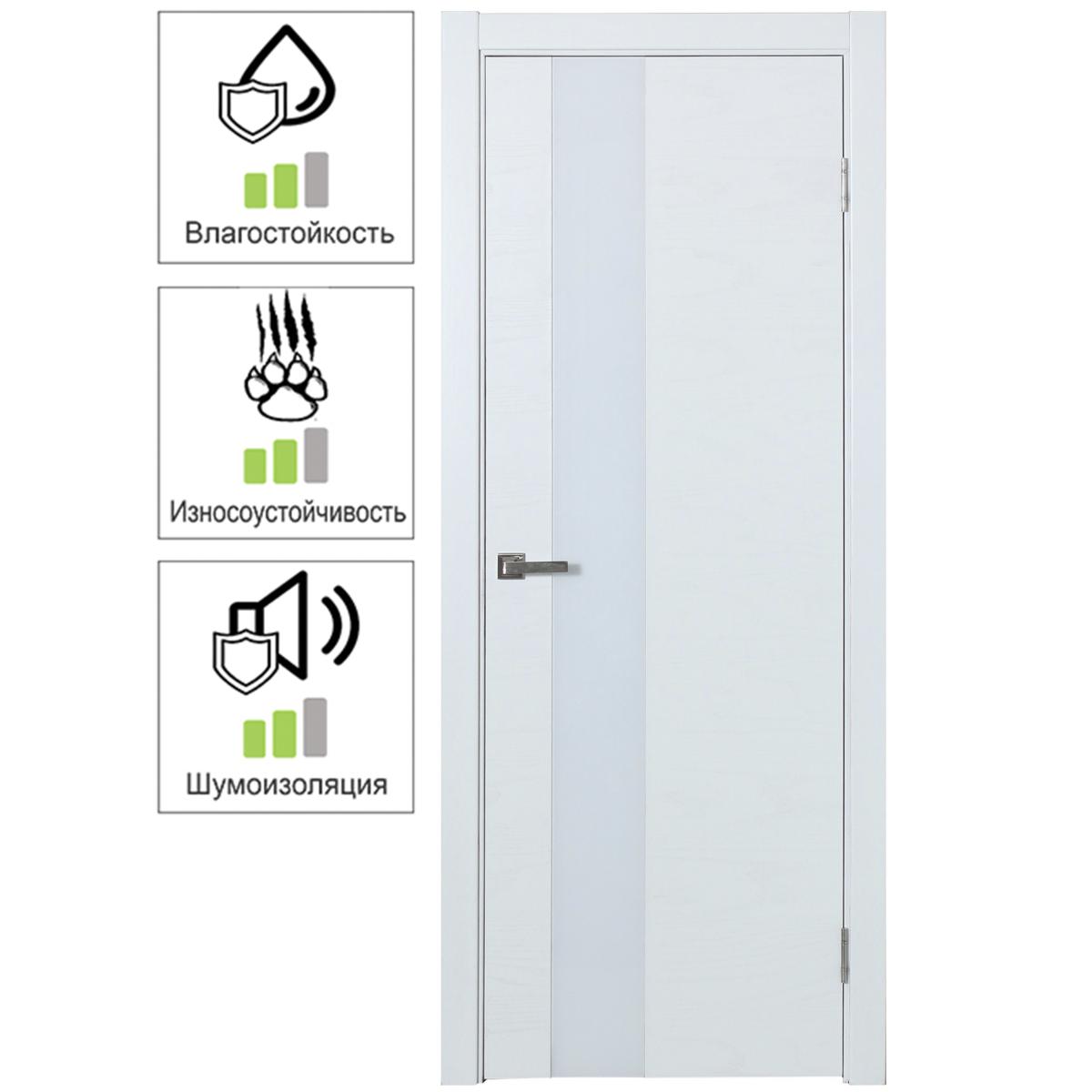 Дверь Межкомнатная Остеклённая Шпон Модерн 80x200 Цвет Белый Ясень