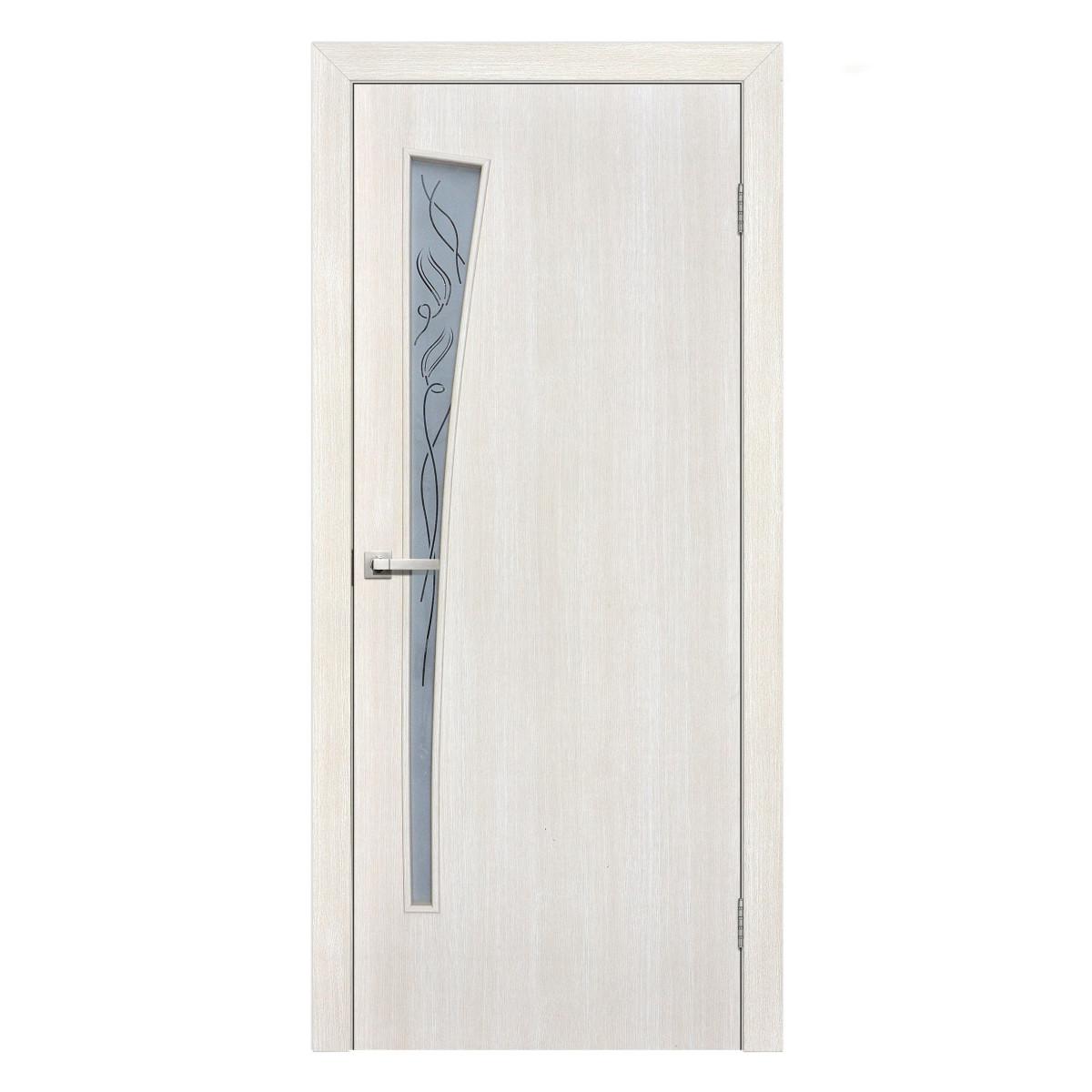 Дверь Межкомнатная Остеклённая Ламинированная Белеза 60x200 Цвет Белый Дуб