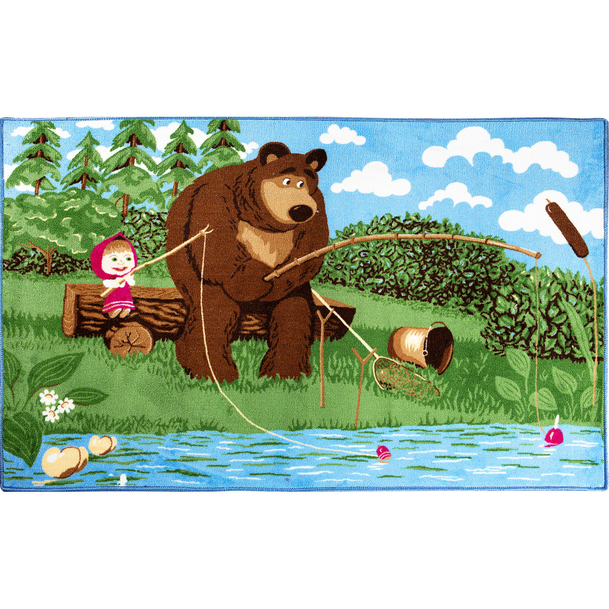 Ковер Маша и Медведь рыбалка размер 1х15 м