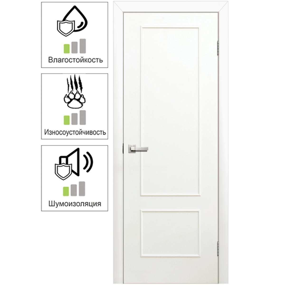 Дверь межкомнатная глухая ламинированная Классика 70x200 см цвет белый