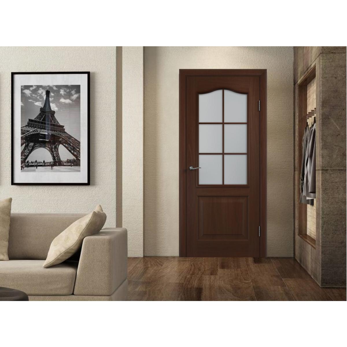 Дверь Межкомнатная Остеклённая Пвх Антик 70x200 Цвет Итальянский Орех