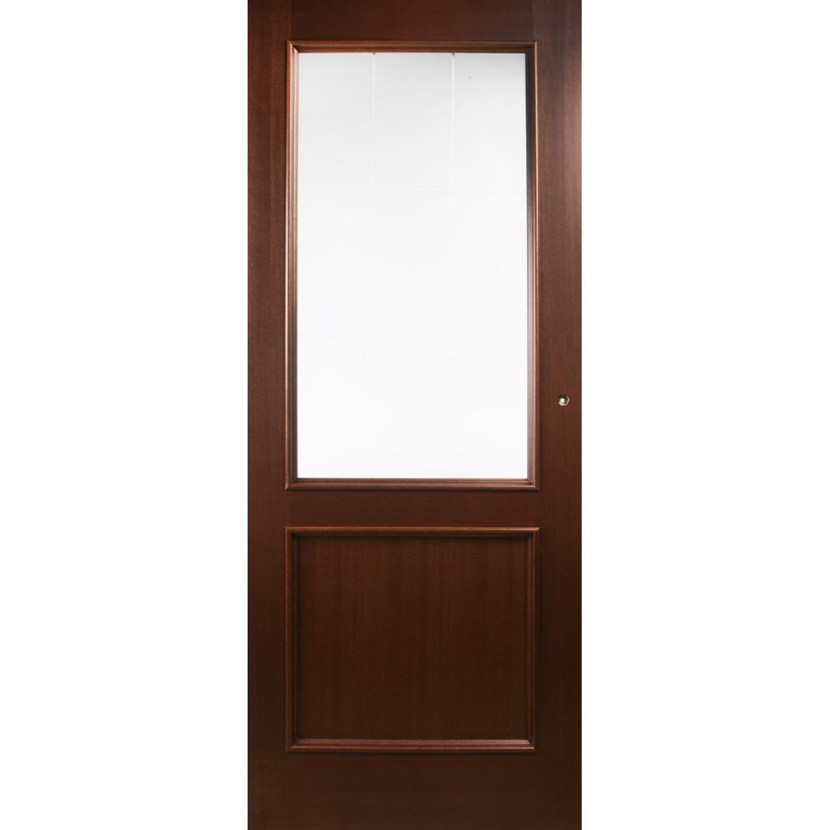 Дверь межкомнатная остеклённая шпонированное Этерно 60x200 см цвет итальянский орех