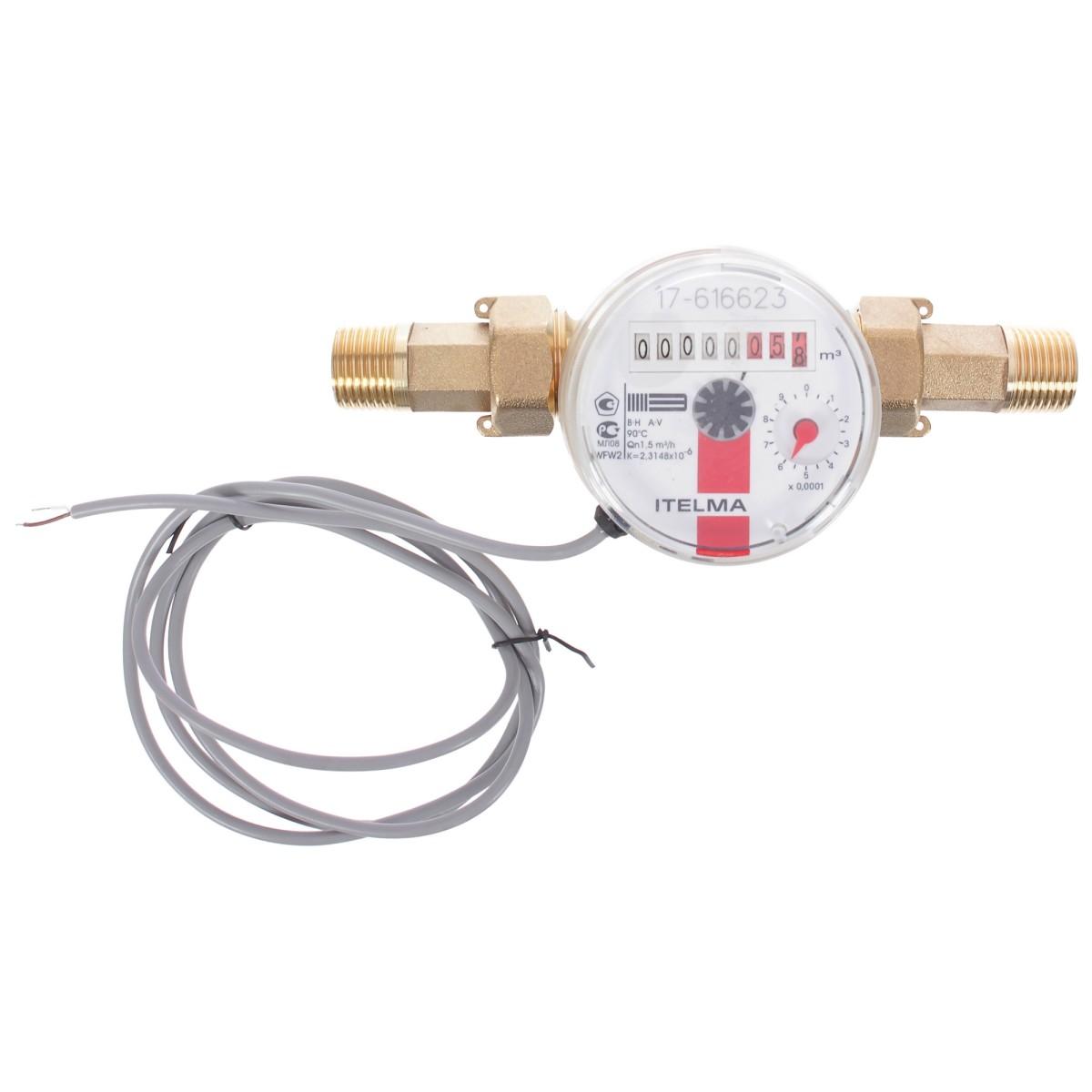 Счетчик для горячей воды Itelma 1/2х80 мм