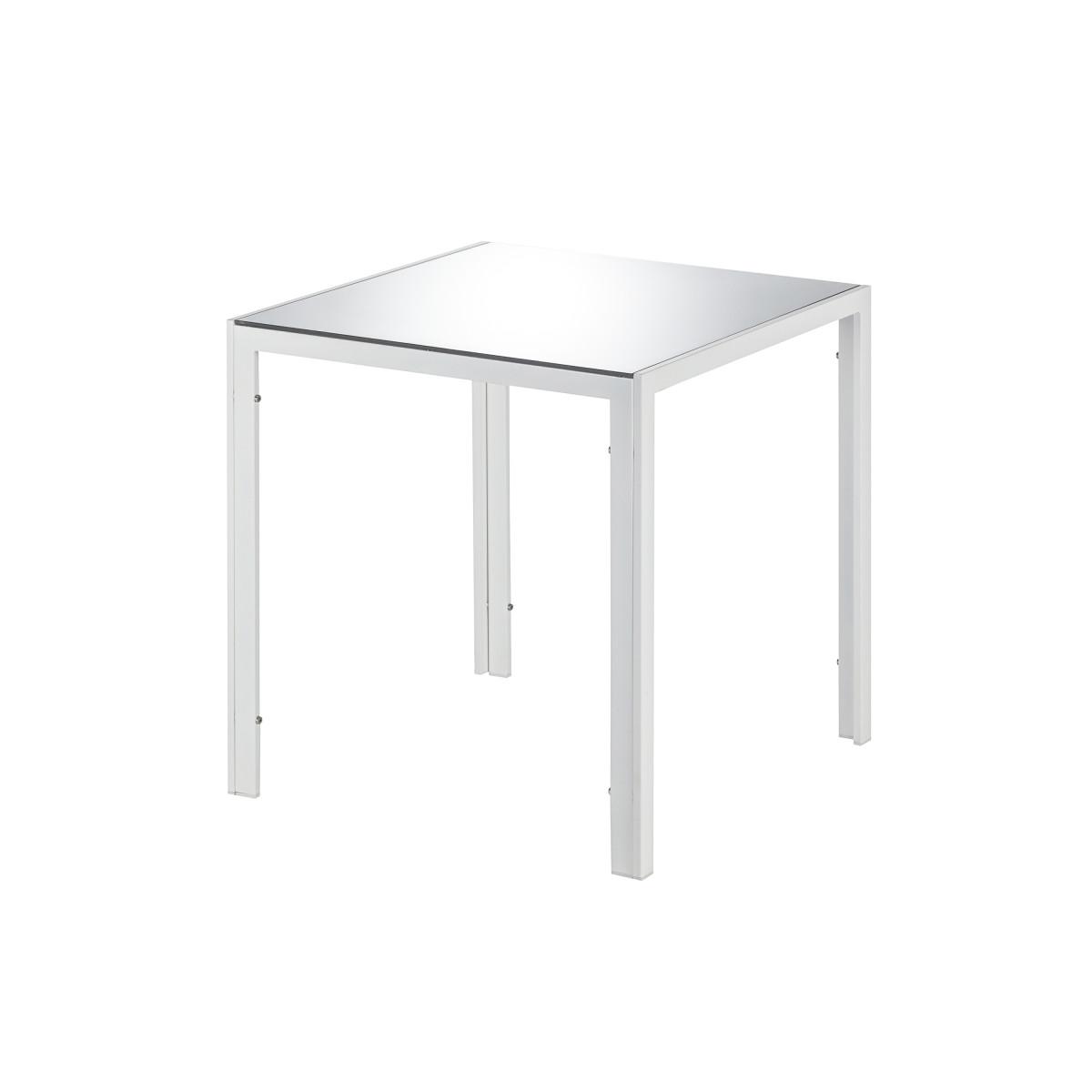 Стол садовый 70x70 см сталь/стекло цвет белый