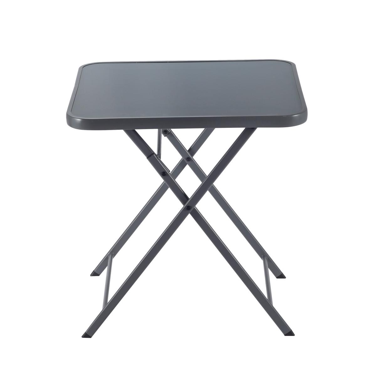 Стол садовый квадратный Naterial Emys Origami складной 70x70х72 см сталь/стекло темно-серый