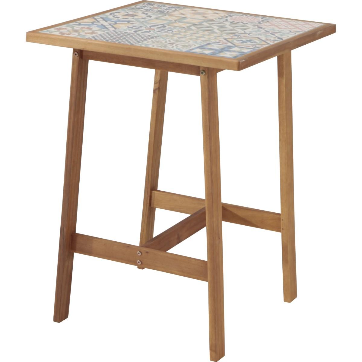 Стол садовый квадратный 70x70x95 см акация/керамика цвет коричневый