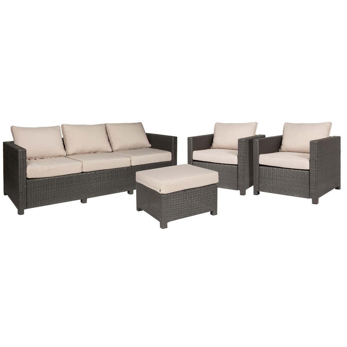 Набор садовой мебели Naterial Cape Cod полиротанг коричневый табурет диван и 2 кресла