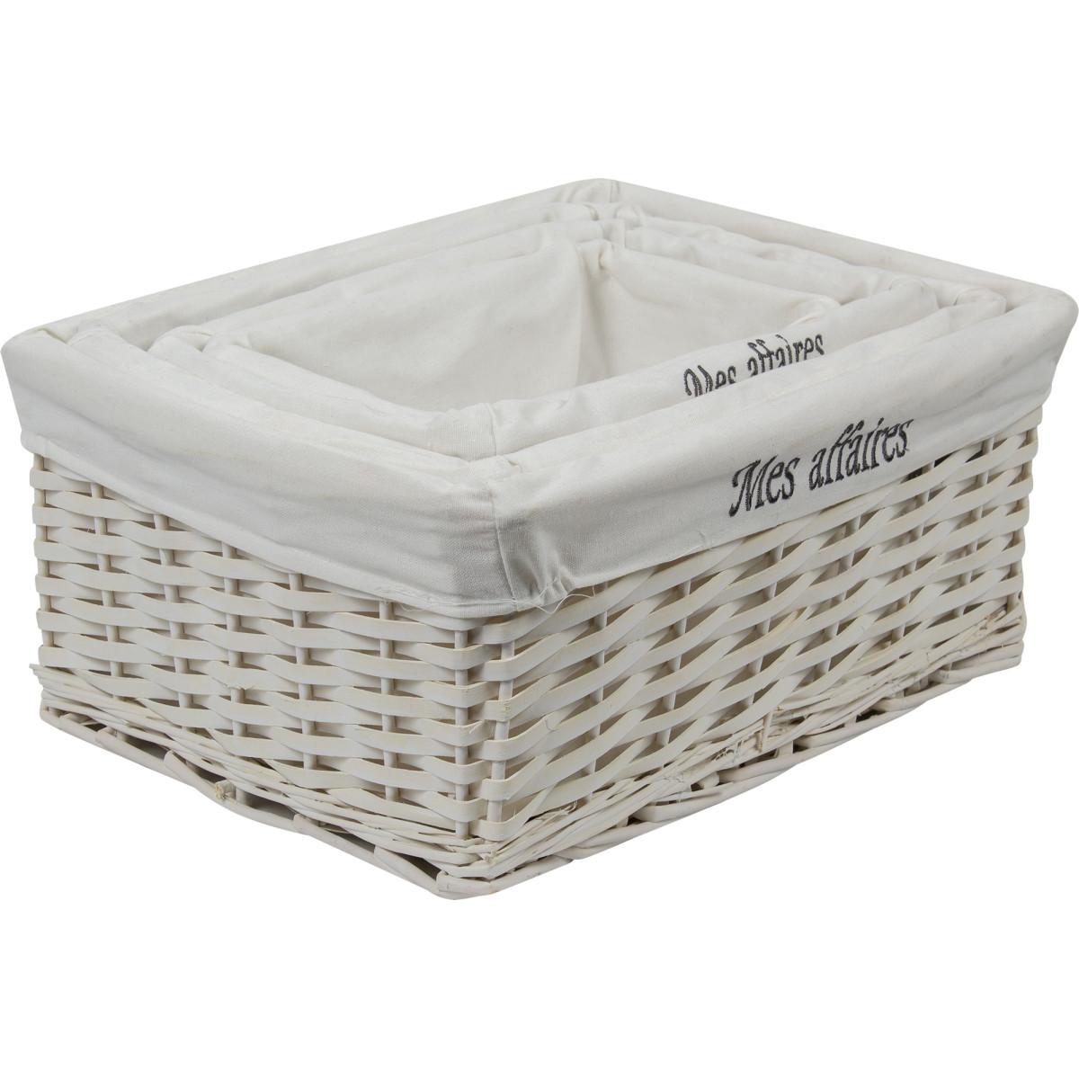 Комплект из 4 плетенных корзин белые