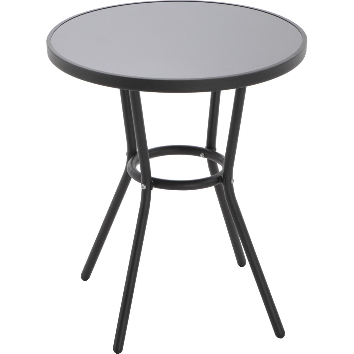 Стол садовый круглый 59.5x59.5x70 см металл/стекло черный