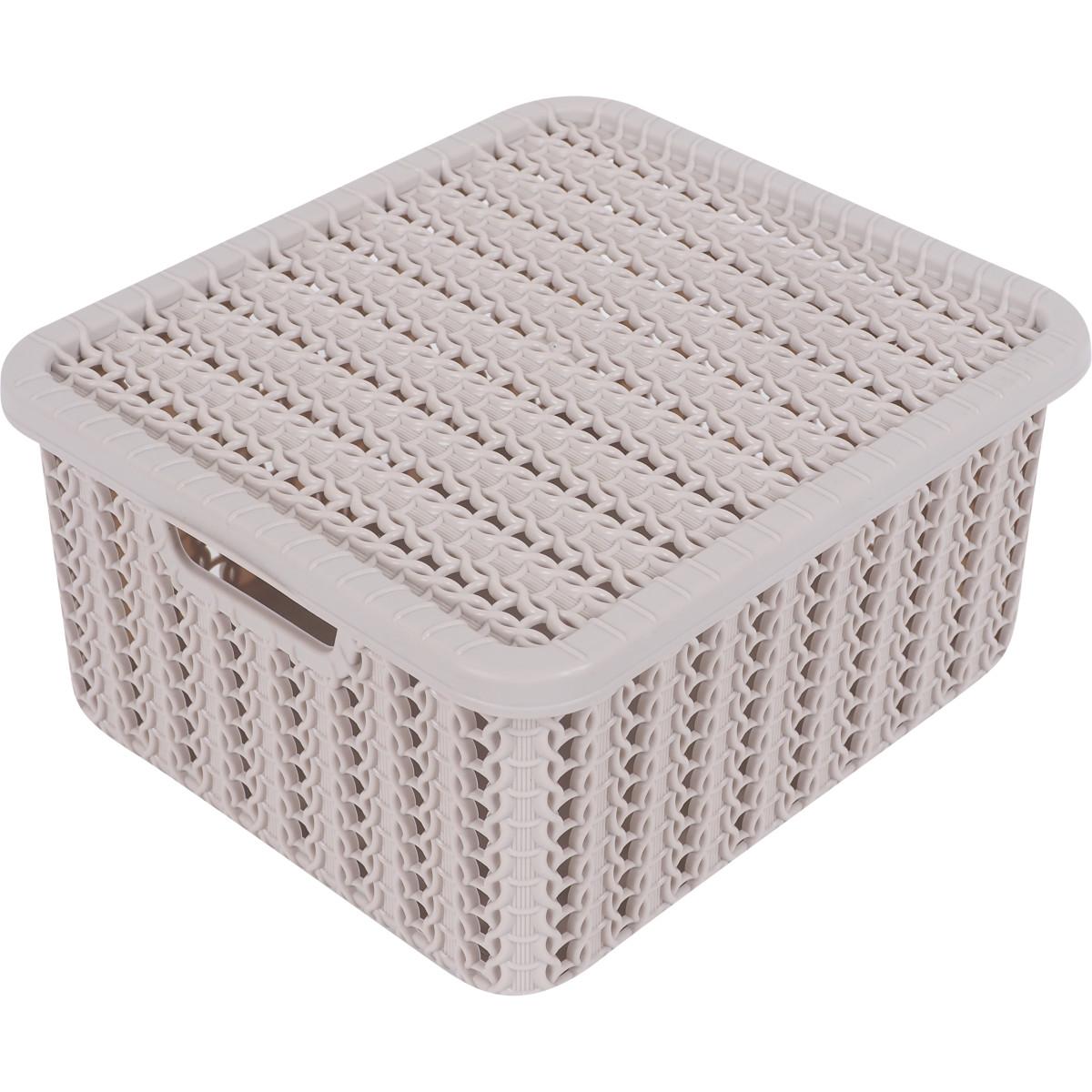 Коробка Вязание 1.5 л с крышкой цвет бежевый
