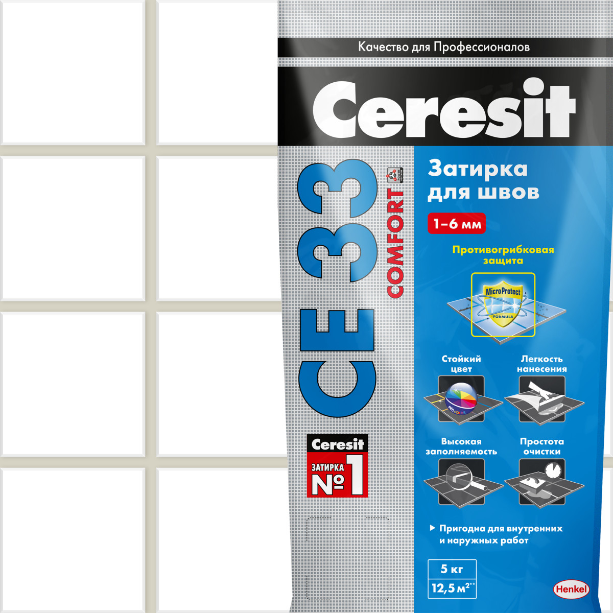 Затирка для узких швов Ceresit CE 33 Comfort ширина шва 2-6 мм 5 кг сталь цвет жасмин