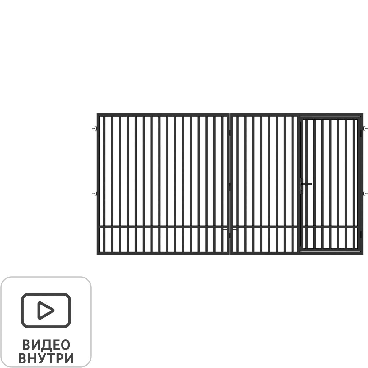 Ворота распашные Гарант 4.0x2.08 м c калиткой