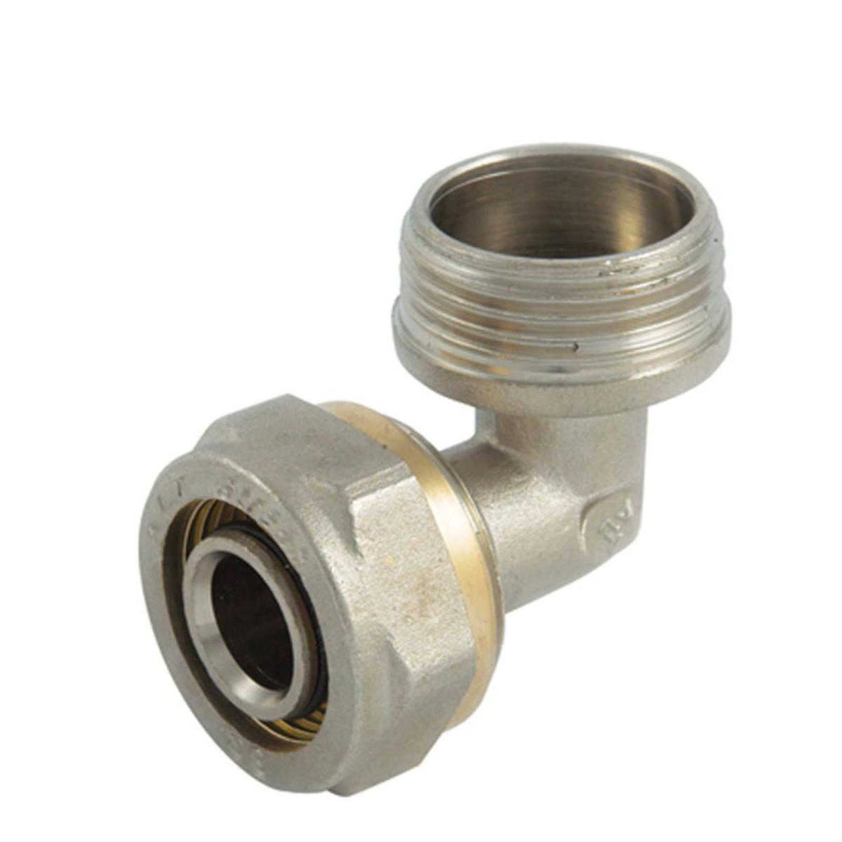Уголок обжимной наружная резьба 3/4х20 мм никелированная латунь
