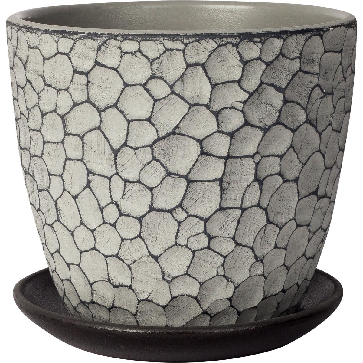 Горшок цветочный «Манго» D15 1 3л. бетон Серый / Серебристый