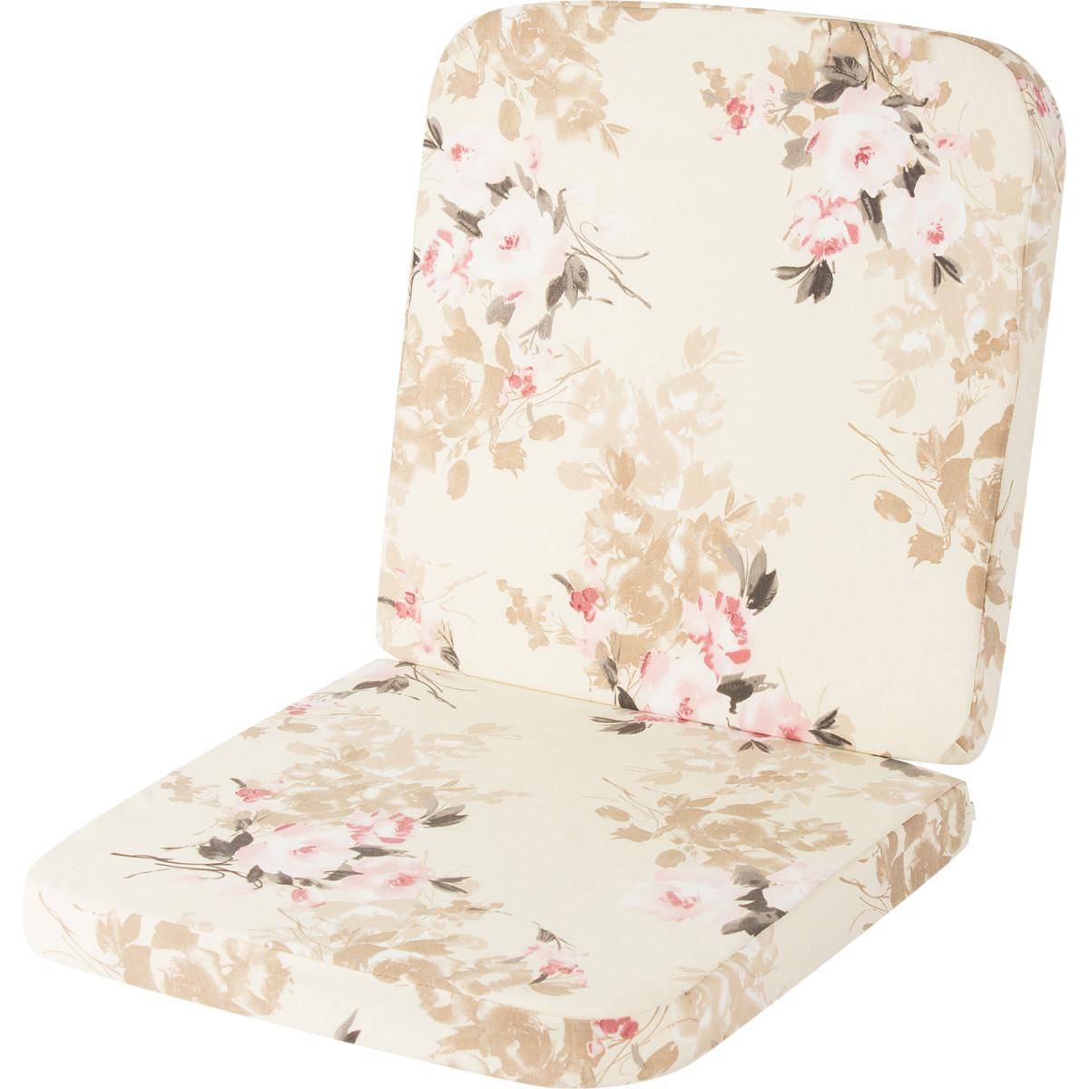 Подушка на кресло Романс поликоттон розовые цветы на бежевом