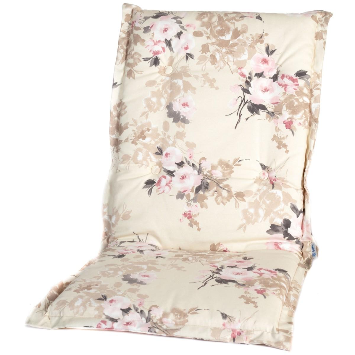 Подушка на кресло Ницца поликоттон розовые цветы на бежевом