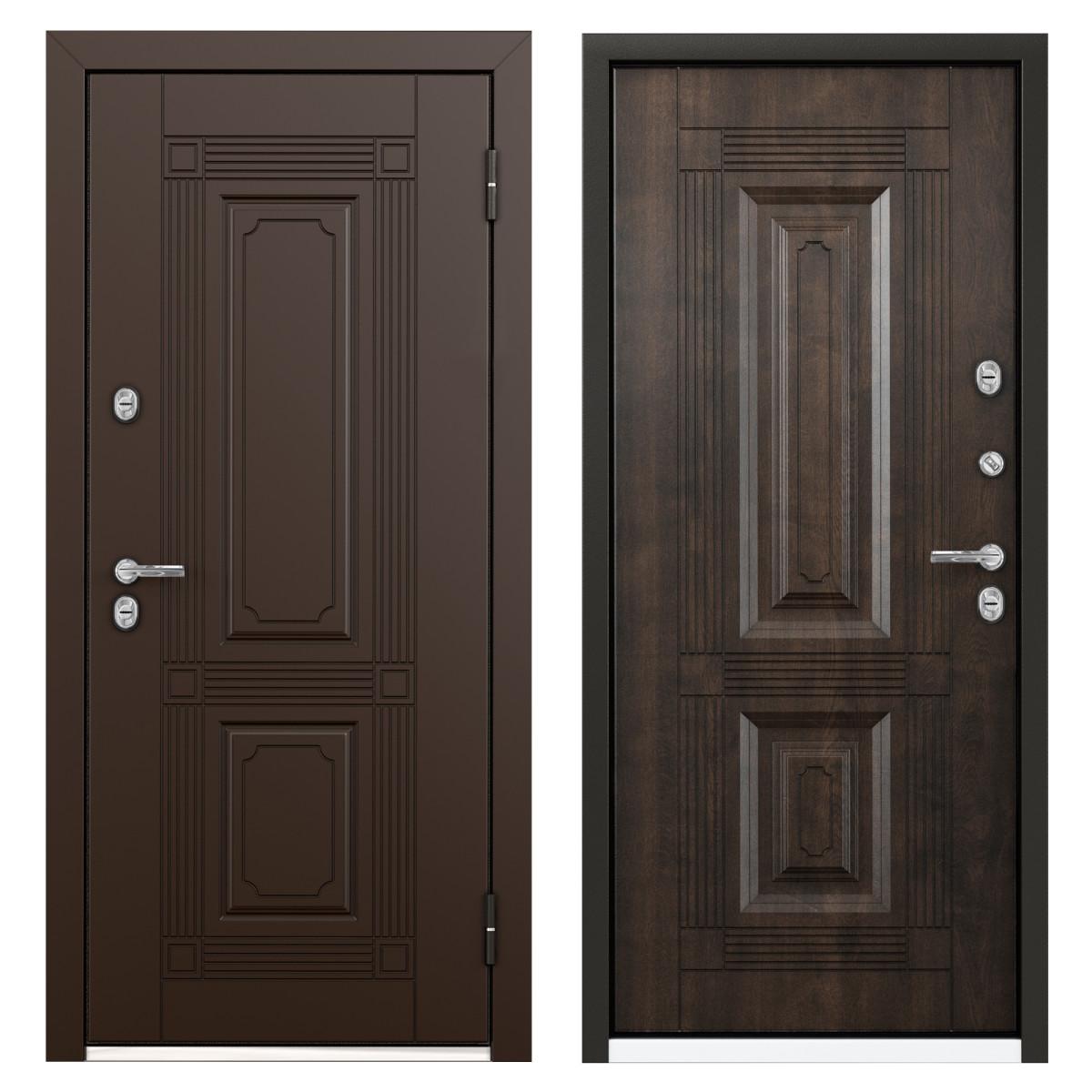 Дверь металлическая Термо С-2 РР 880 мм правая цвет грецкий орех