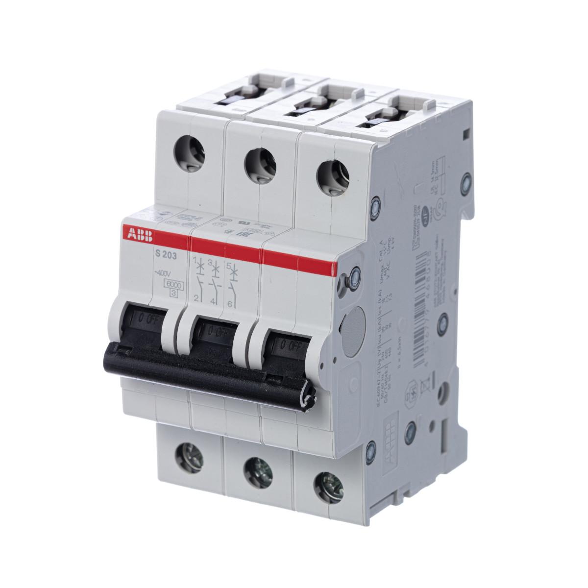 Выключатель автоматический ABB S203 3 полюса 25 А C