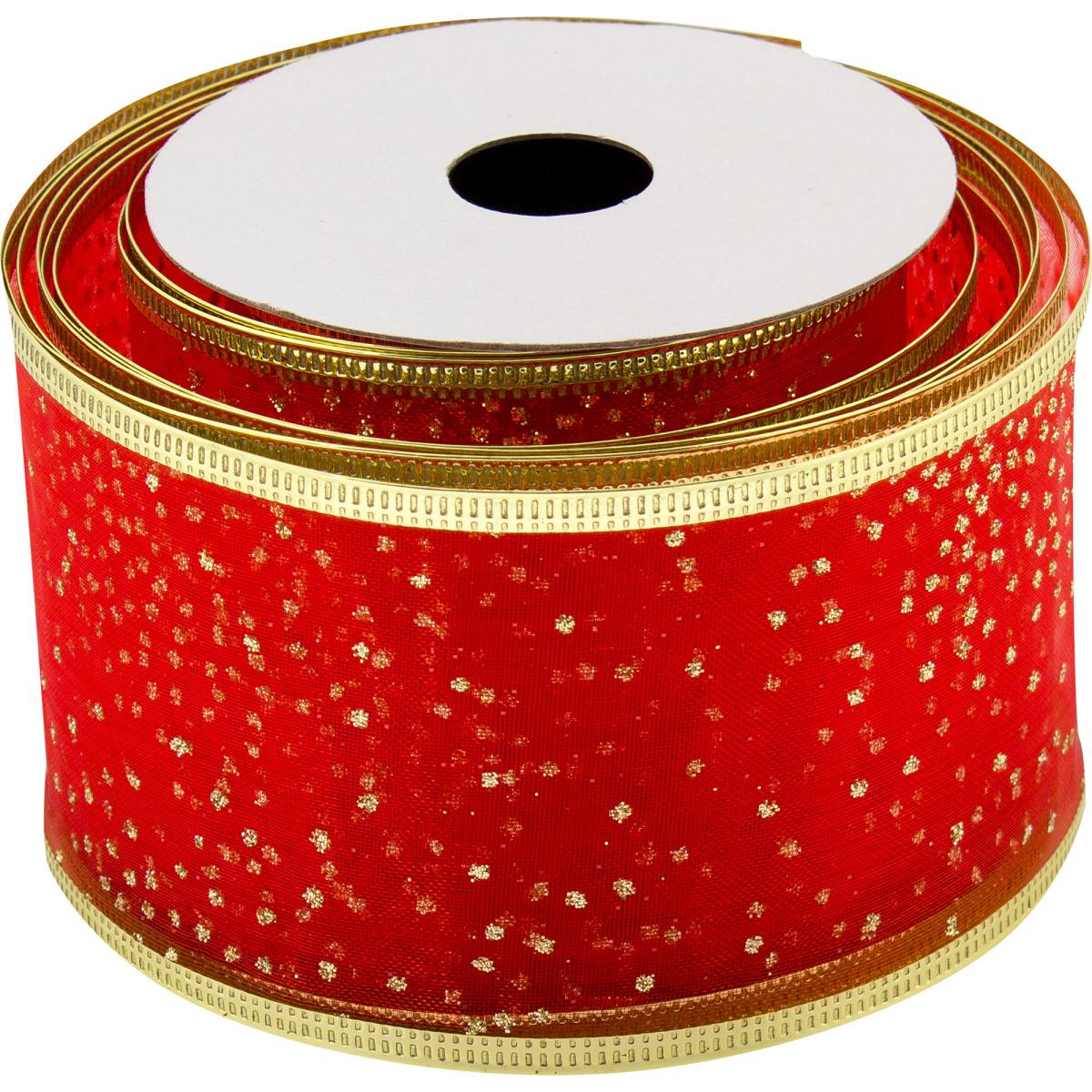 Лента упаковочная 63 мм х 2.7 м цвет красный/золотой