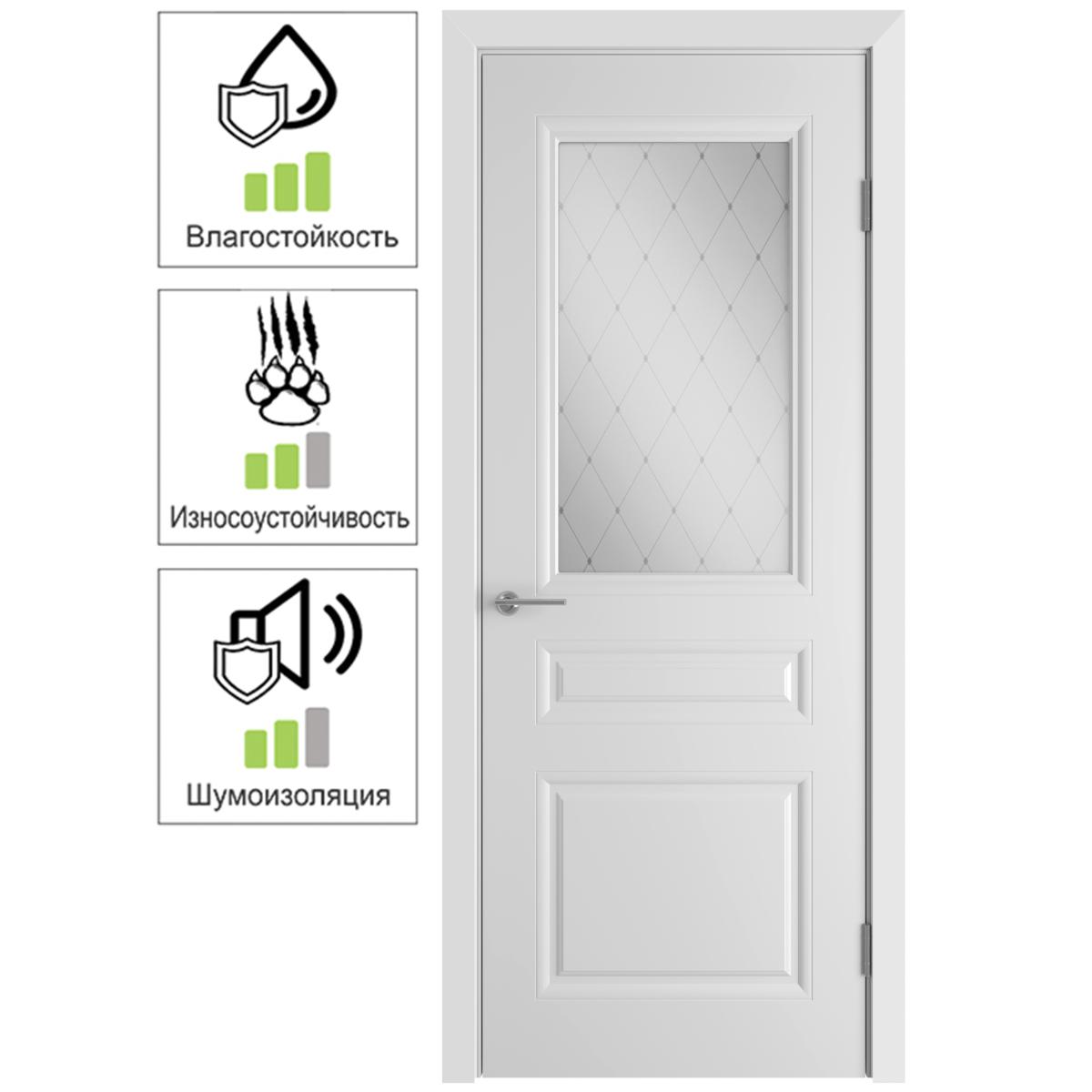 Дверь межкомнатная остеклённая Стелла 60x200 см эмаль цвет белый