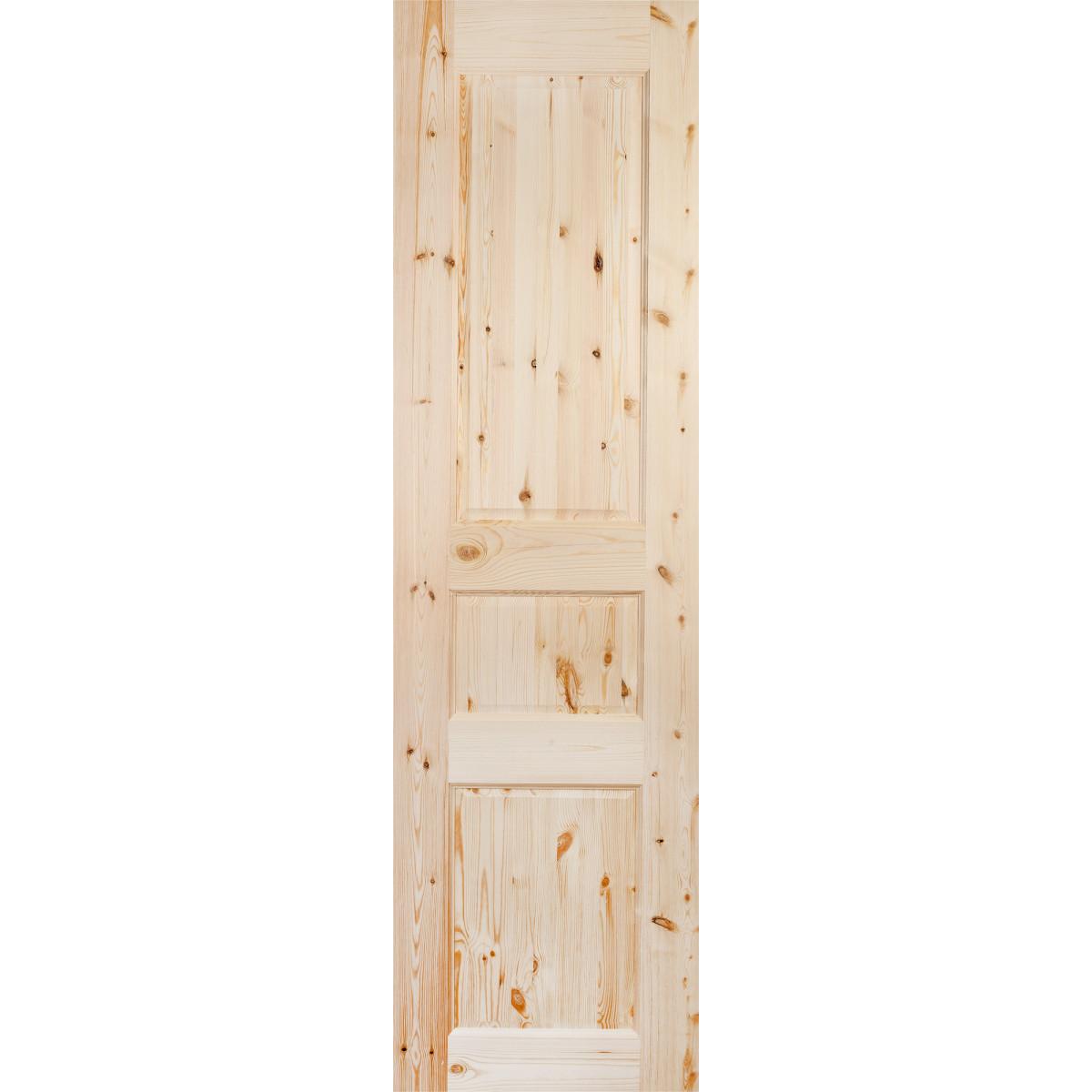 Дверь Межкомнатная Глухая 3 Филёнки 60x200 Массив Сосны Цвет Бежевый