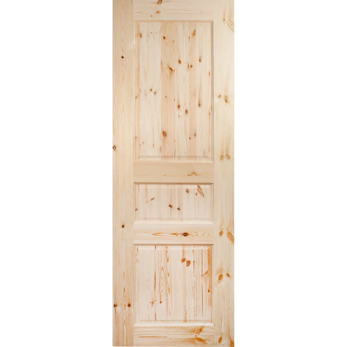 Дверь межкомнатная глухая 3 филёнки 70x200 см массив сосны цвет бежевый