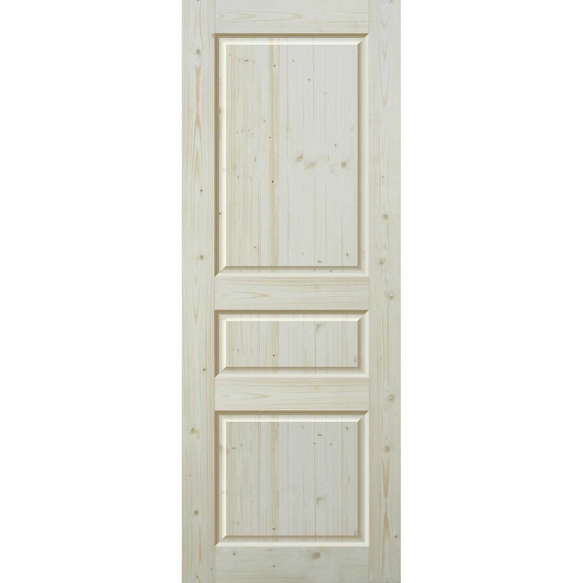 Дверь межкомнатная глухая 3 филёнки 90x200 см массив сосны цвет бежевый