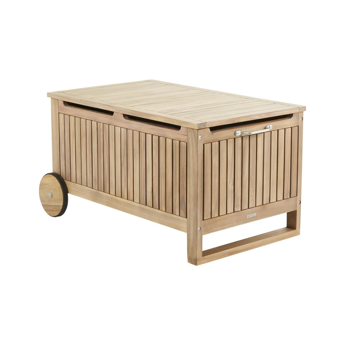 Скамья-ящик с колесами для хранения Naterial Solis акация светло-коричневый