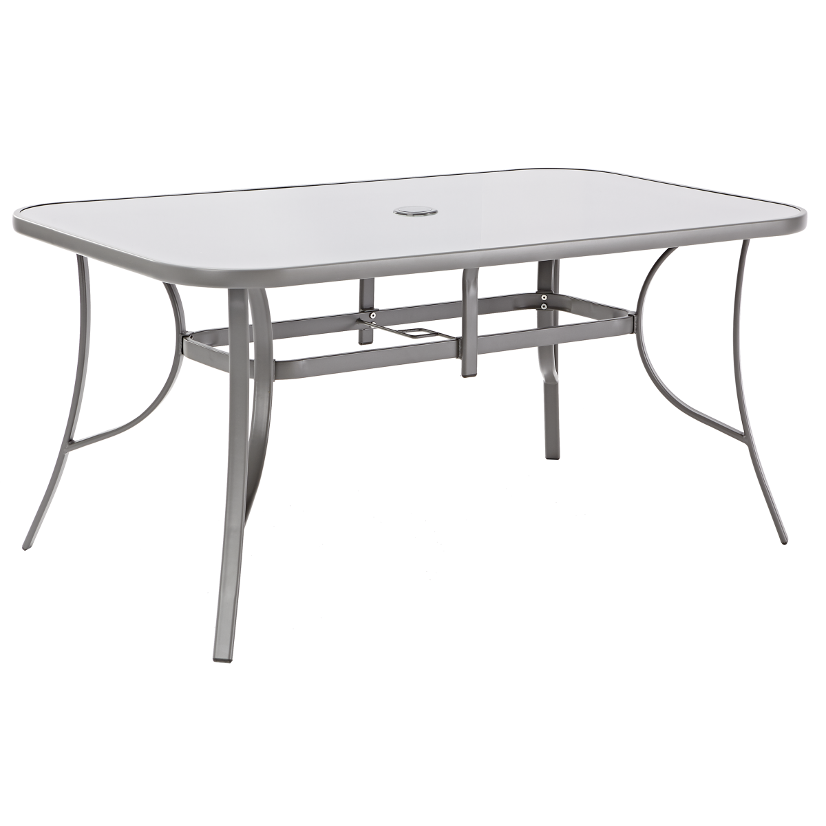 Стол садовый Alma 160x90х70 см сталь/стекло серый