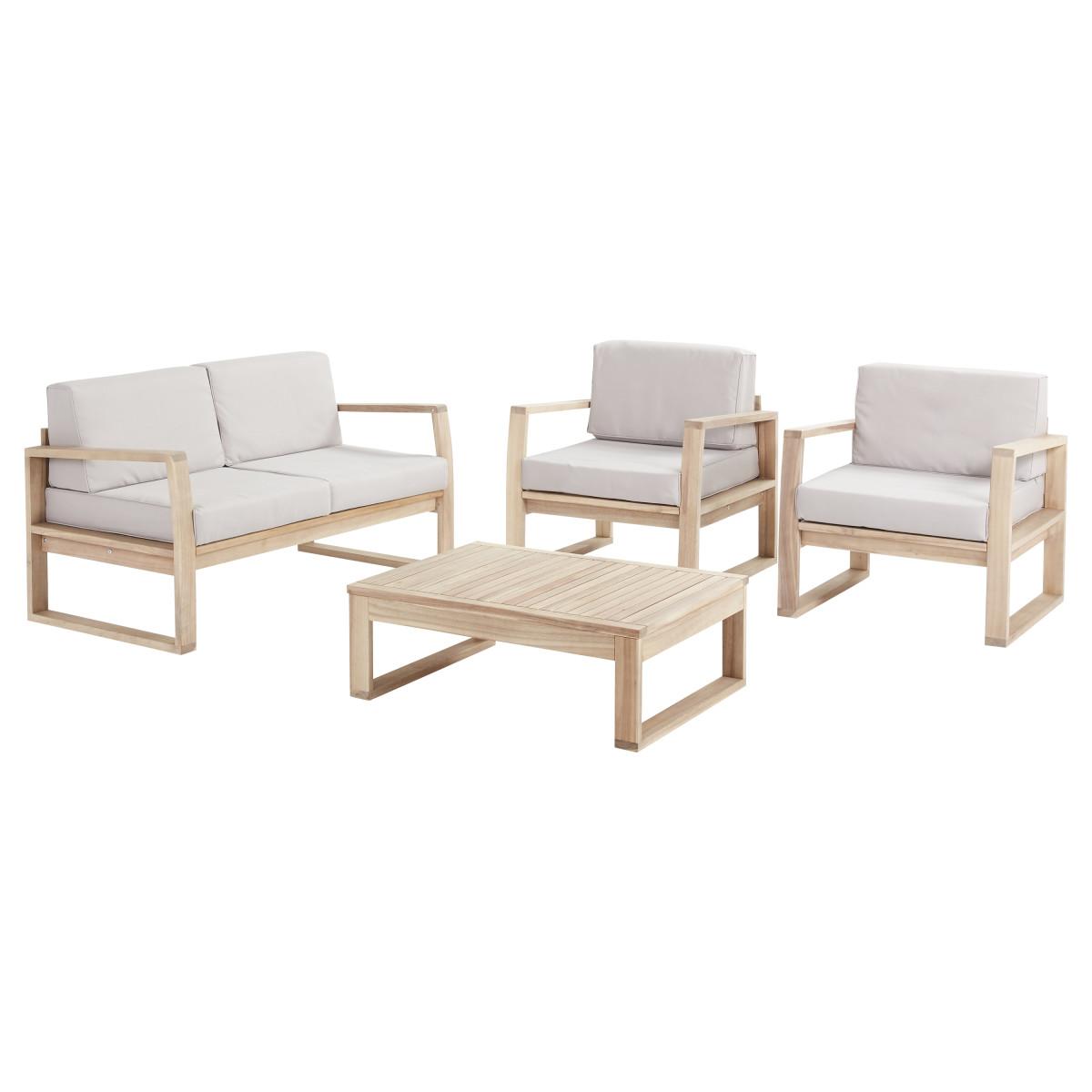 Набор садовой мебели Naterial Solaris акация светло-коричневый стол диван и 2 кресла