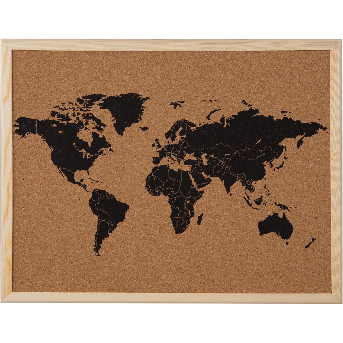 Доска пробковая «Карта мира» 40х50