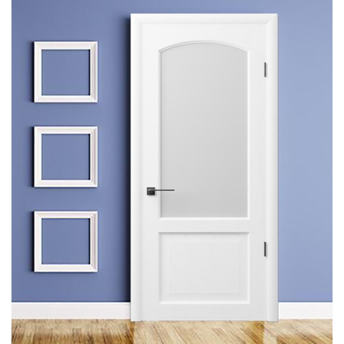 Дверь Межкомнатная Остеклённая 853 80x200 Шпон Цвет Дуб Белая Эмаль
