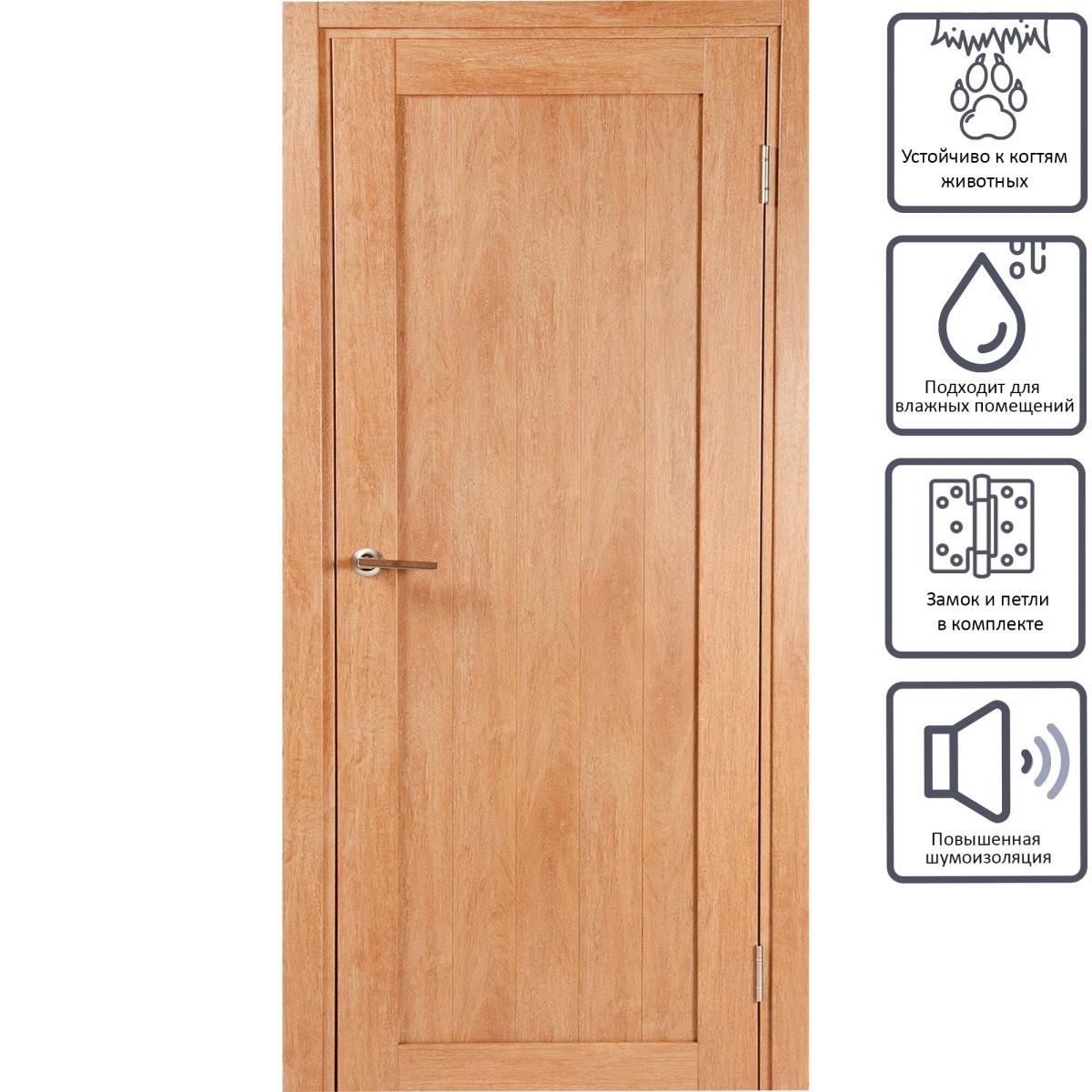 Дверь межкомнатная глухая Кантри 80x200 см ПВХ цвет дуб арагон с фурнитурой