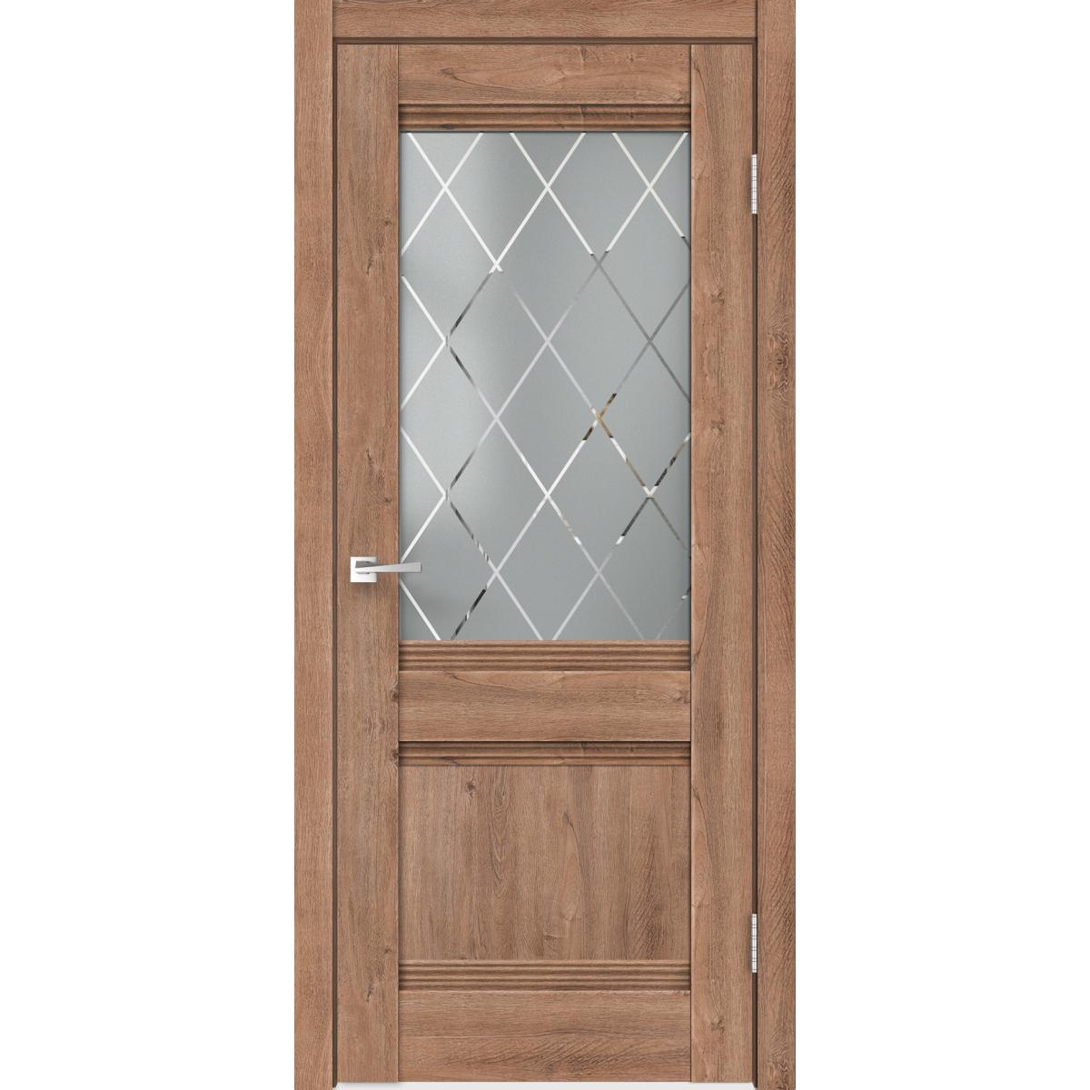 Дверь межкомнатная остеклённая с замком и петлями в комплекте «Тоскана» 60x200 см цвет дуб бельмонт