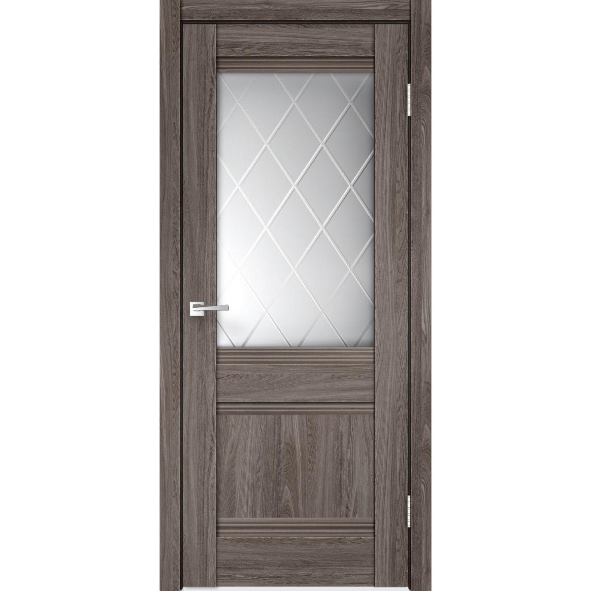 Дверь межкомнатная остеклённая с замком и петлями в комплекте «Тоскана» 90x200 см цвет ясень анкор