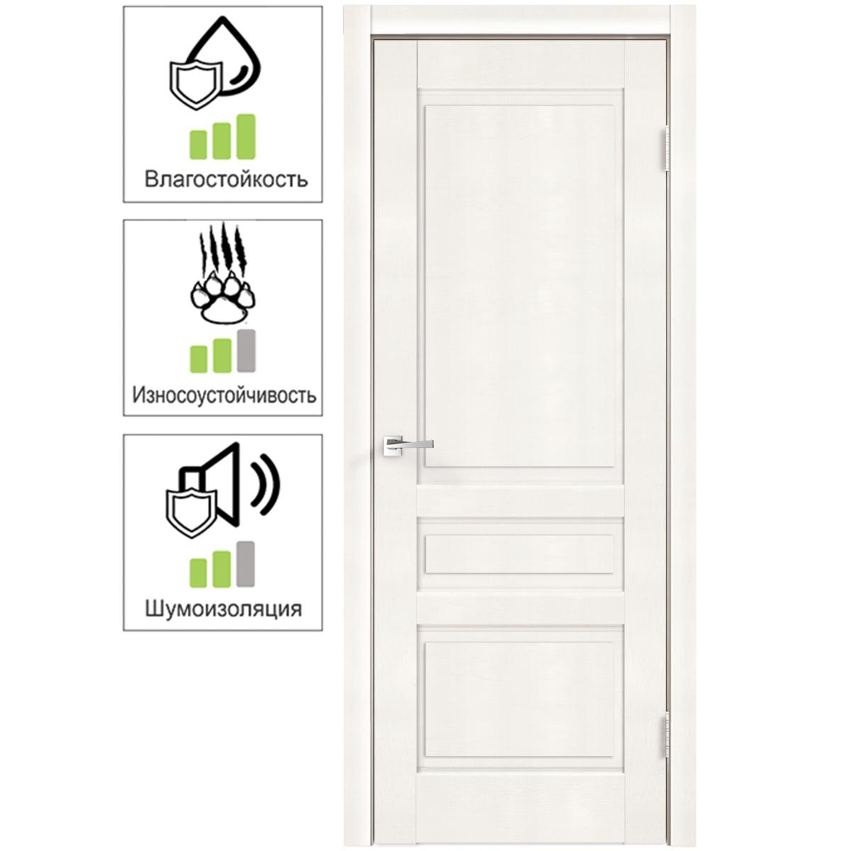 Дверь межкомнатная глухая «Летиция» 90x200 см ПВХ цвет дуб пломбир с фурнитурой