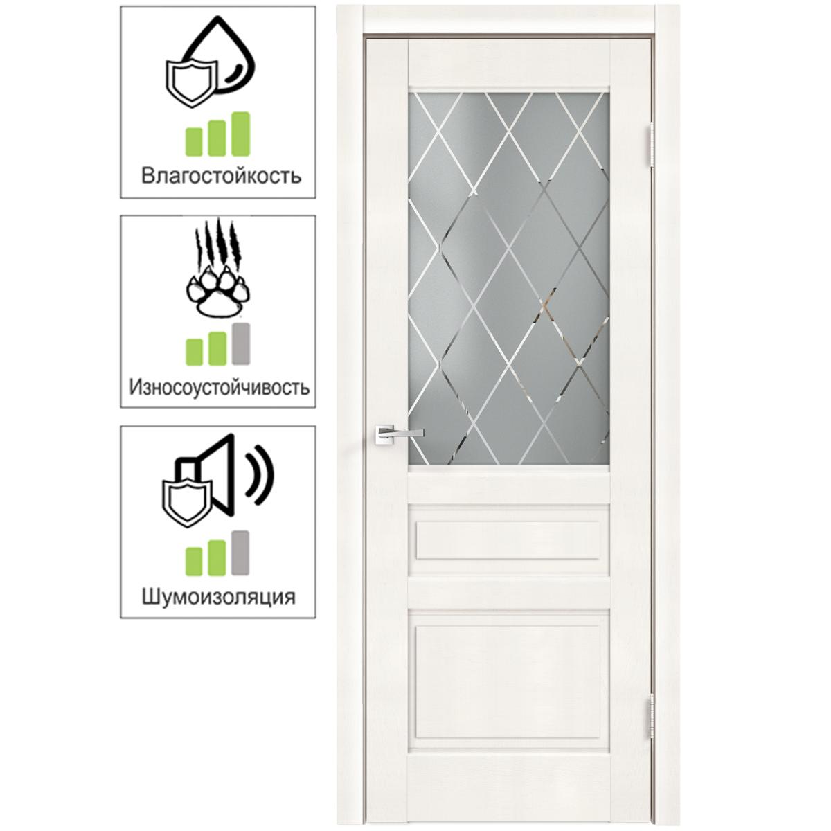 Дверь межкомнатная остеклённая «Летиция» 70x200 см ПВХ цвет дуб пломбир с фурнитурой