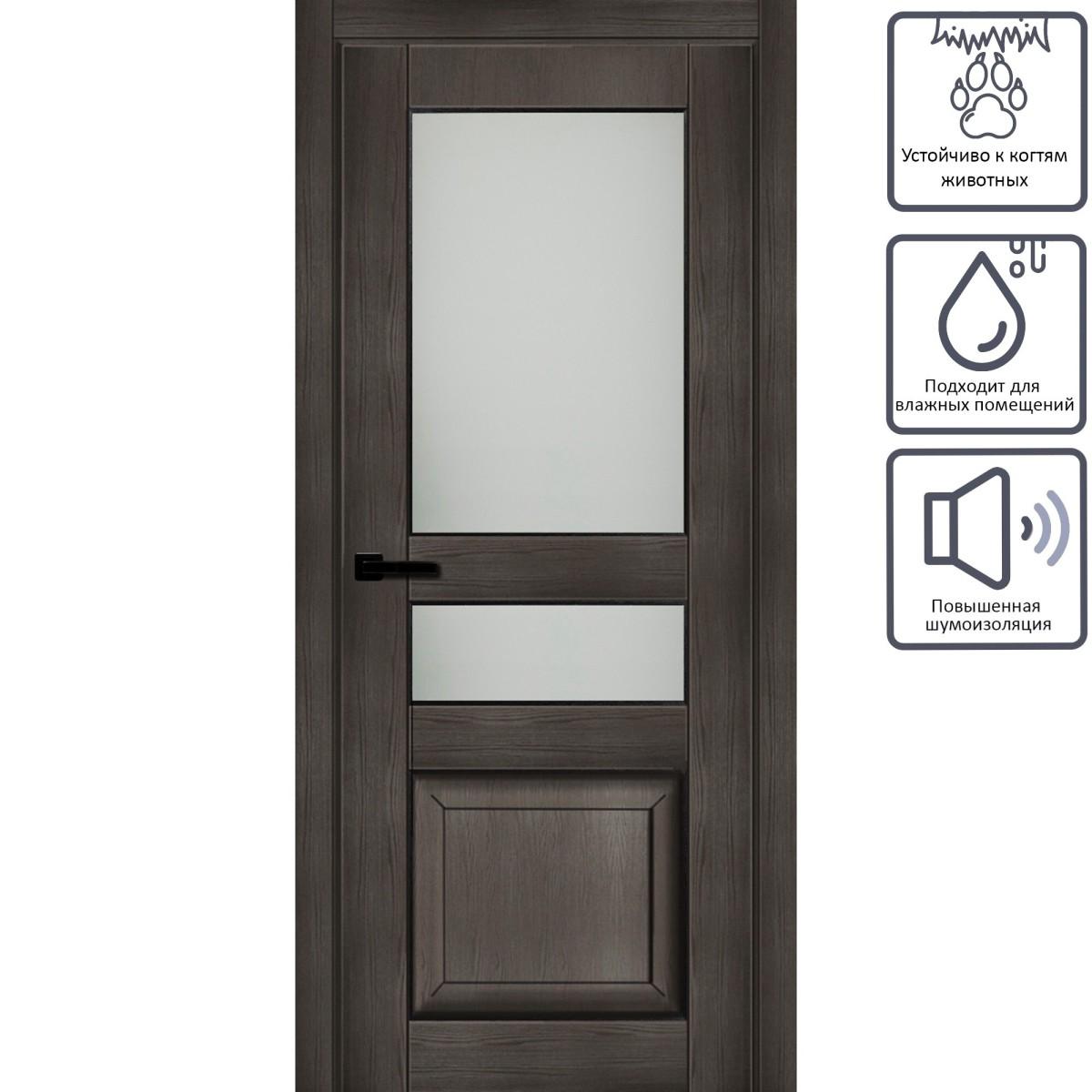 Дверь межкомнатная остеклённая с замком в комплекте Дерби 2100x800 мм CPL цвет дуб чёрный матовый