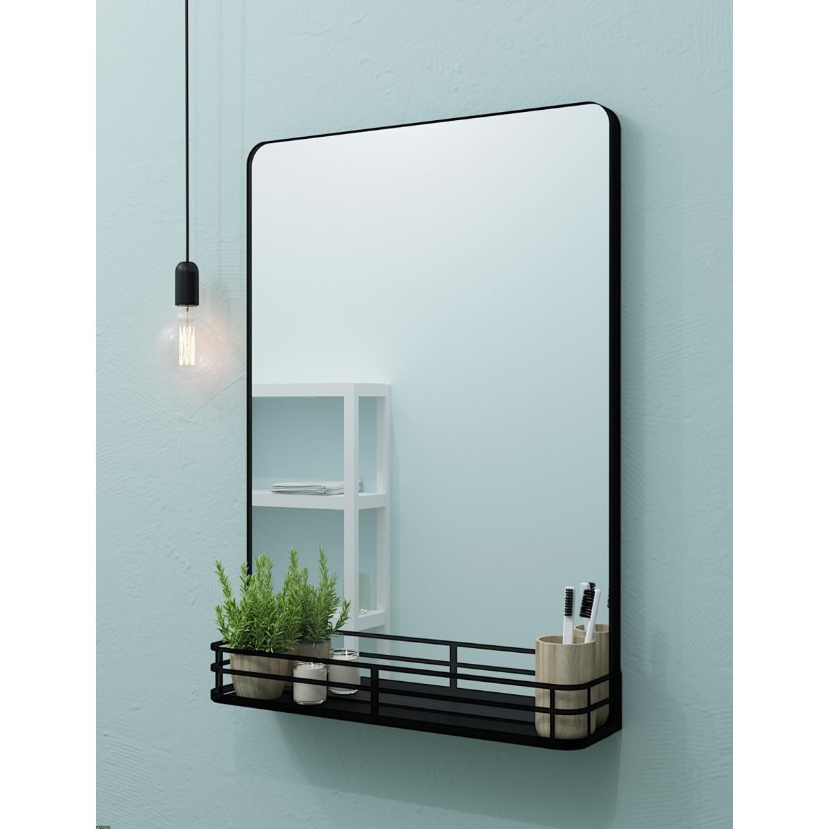 Зеркало Ferro с полкой 50x69.2 см цвет черный