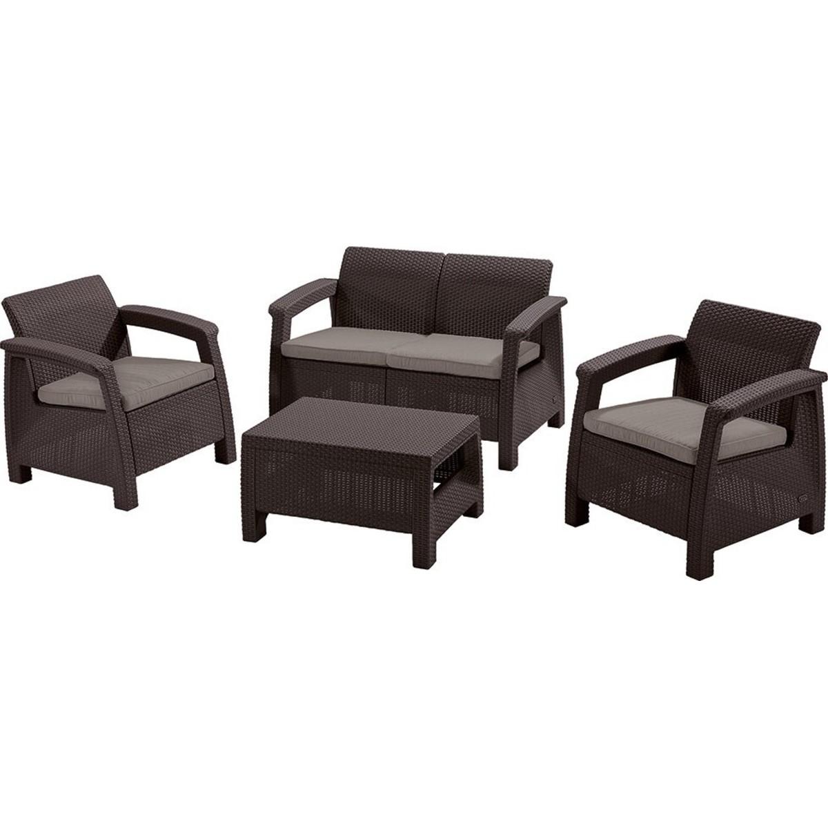 Набор садовой мебели Keter Corfu set полиротанг коричневый стол диван и 2 кресла