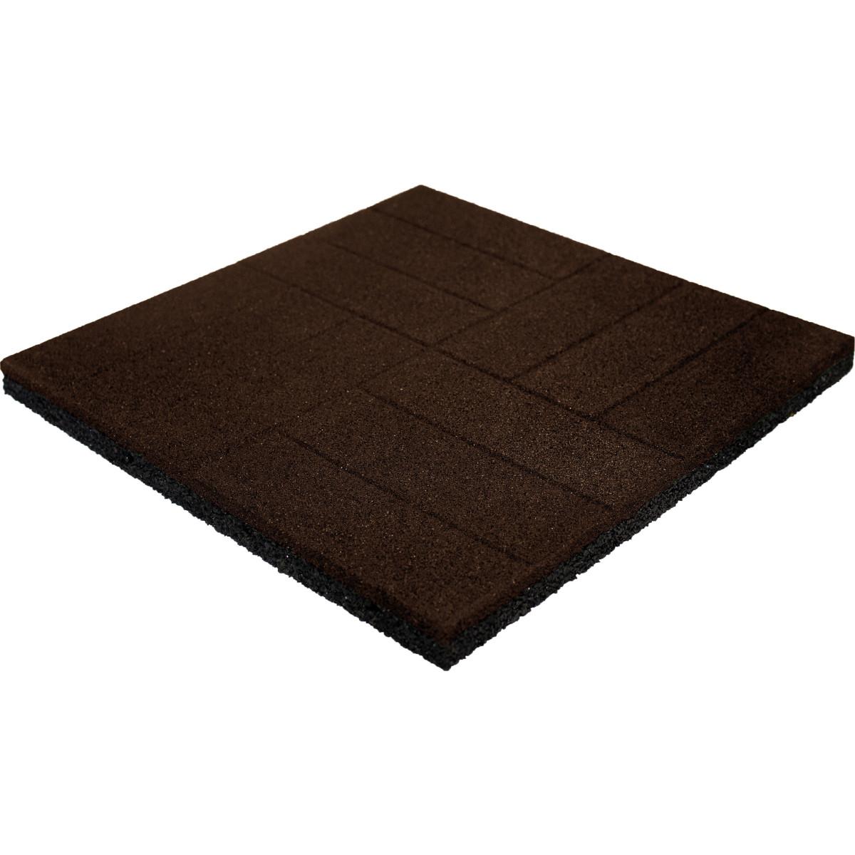 Плитка резиновая 500х500х40 паркет коричневый
