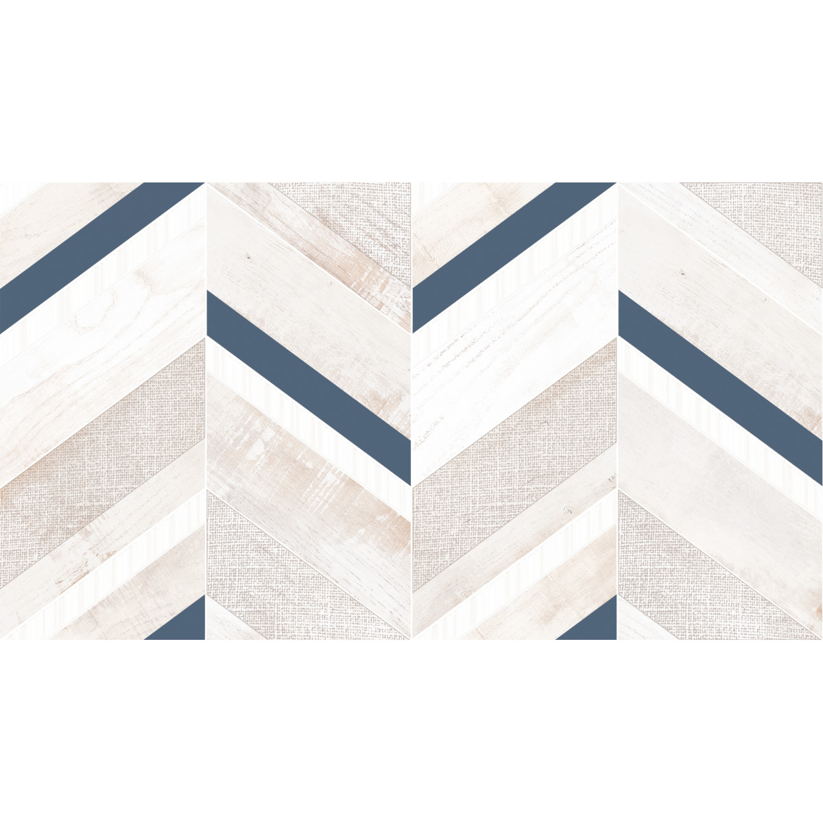 Декор настенный «Блю шеврон Декор 1» 25x45 см цвет бежевый