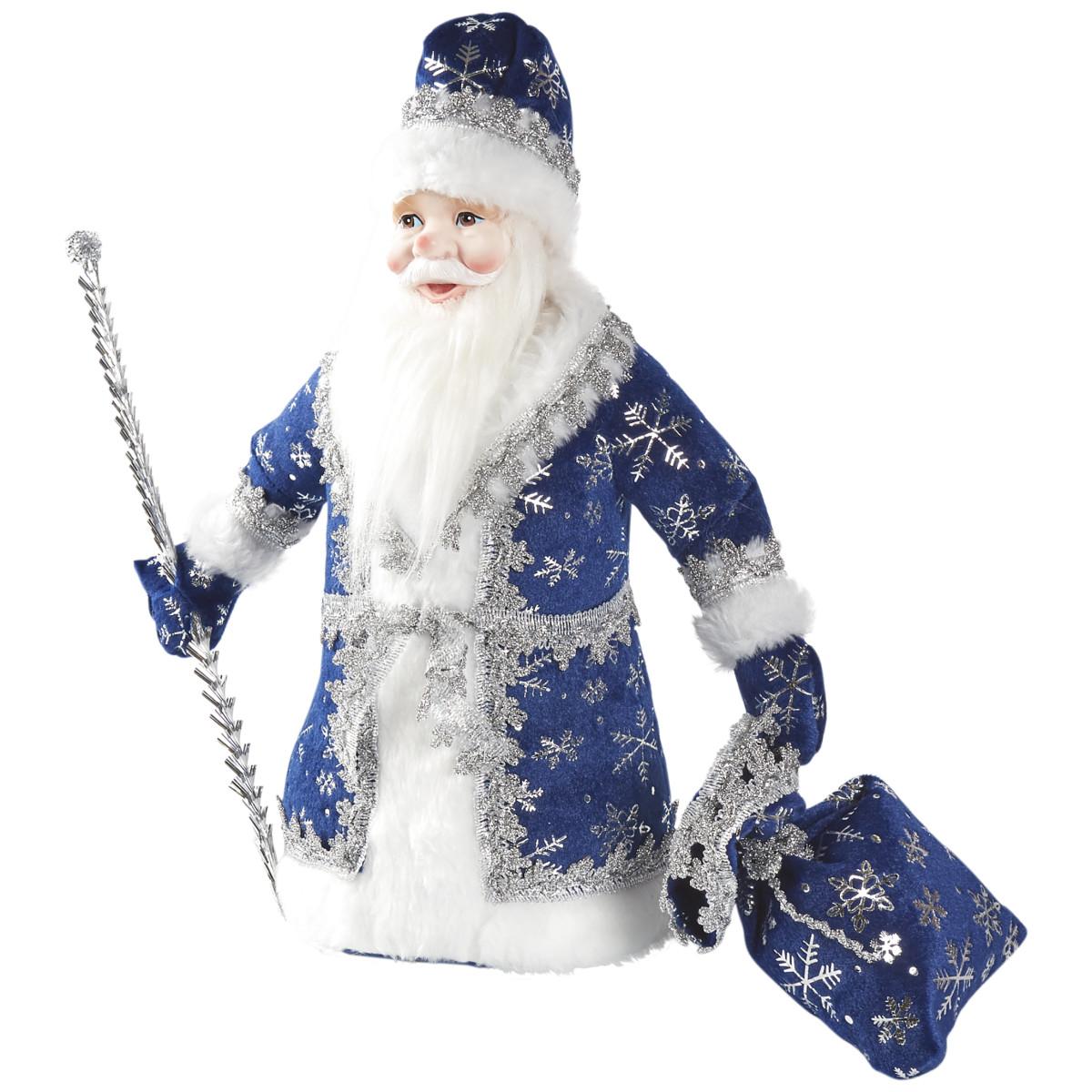Декоративная фигура «Дед Мороз под елку» 40 см синий