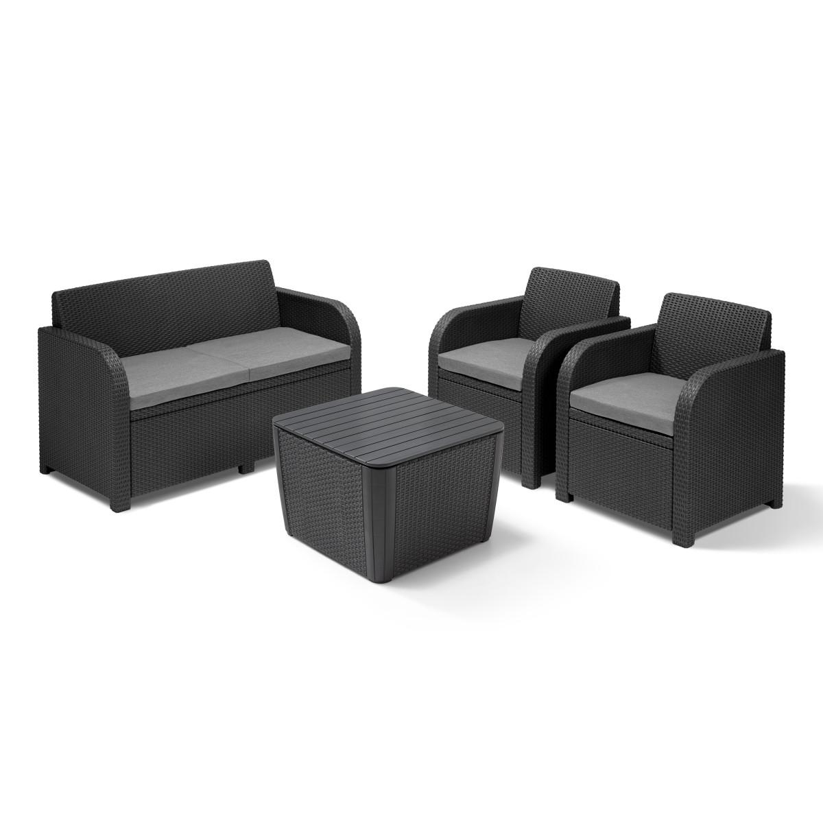 Набор садовой мебели Novara полиротанг серый стол диван и 2 кресла